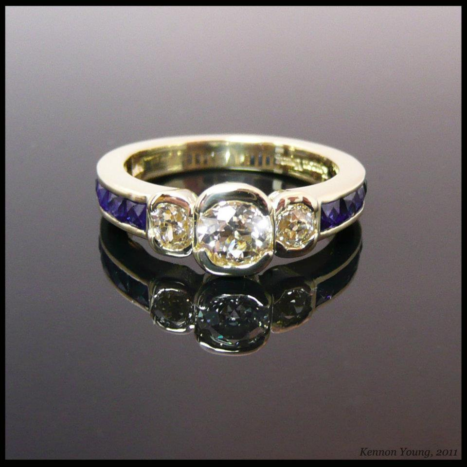Yellow Gold Diamond and sapphire ring